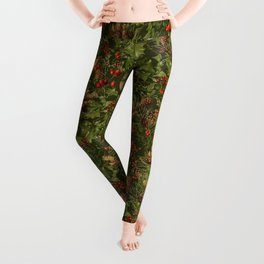 Traditional Holly Christmas Pattern Leggings