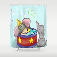 baby elephant Shower Curtains featuring Baby Elephant  by grapeloverarts