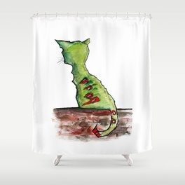 Reflective Zombie Cat Shower Curtain