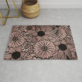 Floral Rose Gold Flowers and Leaves Drawing Black Rug
