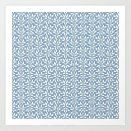 Minimalist Vines Leaves Flowers and Dots Muted Blue and Pale Gray Art Print