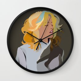 Woman with Colorful Hair in Trench Coat Wall Clock