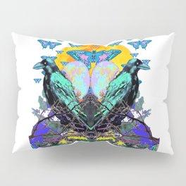 SURREAL BIRDS, BLUE BUTTERFLIES & GOLDEN MOON Pillow Sham