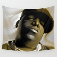 biggie Wall Tapestries featuring The Notorious B.I.G (Biggie Smalls) by darylrbailey