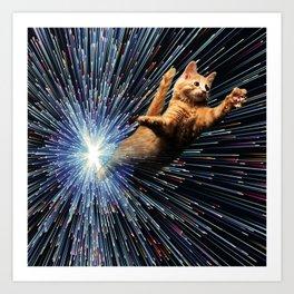 Cat Space vortex in galaxy attack speed of light Art Print