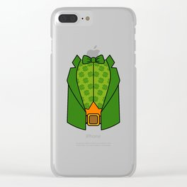 Leprechaun Tuxedo Shirt St Patricks Day Clear iPhone Case