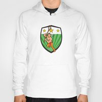 lacrosse Hoodies featuring Native American Lacrosse Player Shield by patrimonio