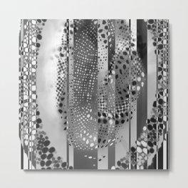 Monochrome Geometric Stripes And Circles Metal Print