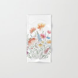 wild flower bouquet and blue bird- ink and watercolor 2 Hand & Bath Towel