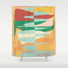 Abstract Vertical Waves Shower Curtain