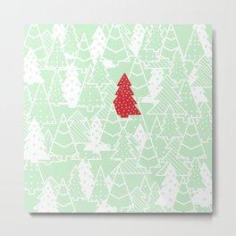 Elegant Green Christmas Trees Holiday Pattern Metal Print