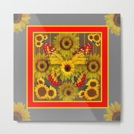 MODERN GREY-RED BUTTERFLY SUNFLOWERS TAPESTRY  ART Metal Print