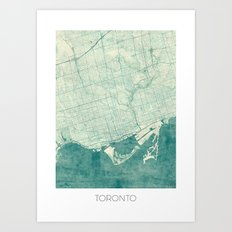 Toronto Map Blue Vintage Art Print