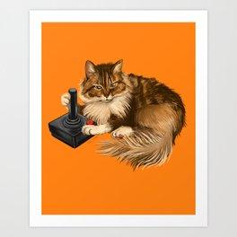Gamer cat retro Art Print