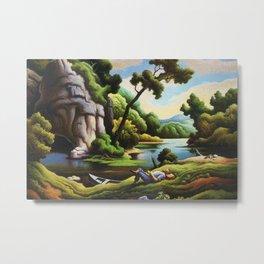 Classical Masterpiece 'Cave Spring' by Thomas Hart Benton Metal Print