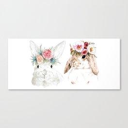 Flower Bunnies Canvas Print