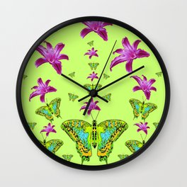 LIME COLOR PURPLE LILIES GREEN MOTHS Wall Clock