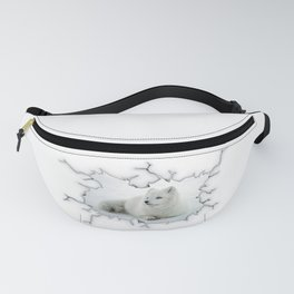 Arctic fox behind crackled glass Fanny Pack