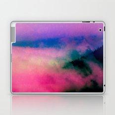 Fog Forest Mountain - Pink Rainbow Northern Lights Laptop & iPad Skin