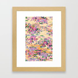 SUMI WITH PINK FLOWERS Framed Art Print