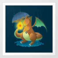 charizard Art Prints featuring Charizard by Jeanette Aga