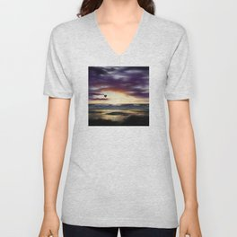 Airship Over the Pacific at Sunset Unisex V-Neck