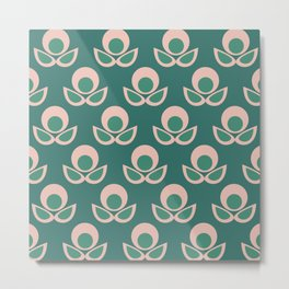 Bubble Flower Retro Pattern in Blush Pink and Apple Green Metal Print