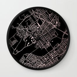 Wilkes-Barre Rose Gold and White Map Wall Clock