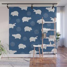 Happy Safari Hippo - Blue Wall Mural