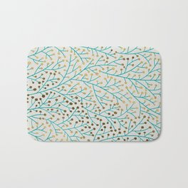 Berry Branches – Turquoise & Gold Bath Mat