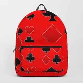 RED & BLACK PLAYING CARD ART ON RED Backpack