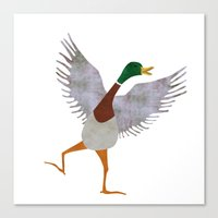duck Canvas Prints featuring Duck by Jade Young Illustrations