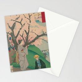 Sakura tree with people Stationery Cards