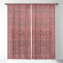 Red Traditional Oriental Moroccan & Ottoman Style Artwork. Sheer Curtain