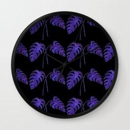 Indigo Monstera Leaf Watercolor on Black Wall Clock