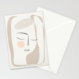 Dreaming Girl Portrait #minimalart Stationery Cards