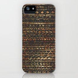 Modern Dark Brown Copper Tribal Ethnic Pattern iPhone Case