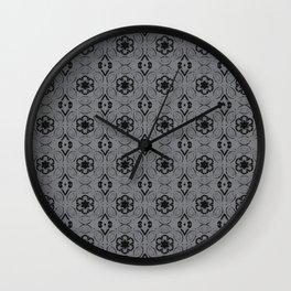 Sharkskin Floral Geometric Pattern Wall Clock