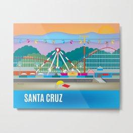 Santa Cruz, California - Skyline Illustration by Loose Petals Metal Print