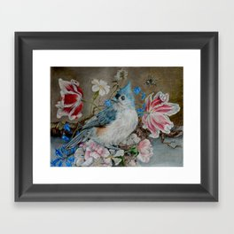 Blue Titmouse and Bee with floral still life Framed Art Print