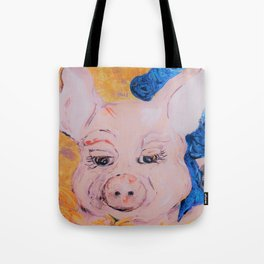 Blue Ribbon Pig Tote Bag