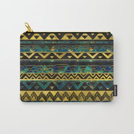 Gold and Teal Marble Tribal Boho Ethnic  Pattern Carry-All Pouch