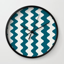 Off White and Teal Wavy Vertical Rippled Stripes Sherwin Williams Trending Colors of 2019 Oceanside Dark Aqua Blue SW 6496 Wall Clock