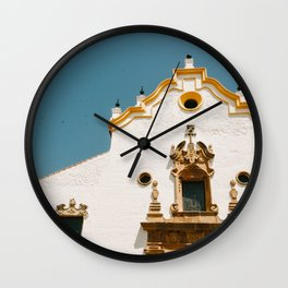 Old orange church in Malaga old town, Spain | Colorful pastal colors | Travel photography art print Wall Clock