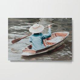 Small Thai longtailboat in water ways near Bangkok Metal Print