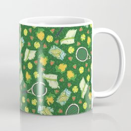 Yellow lemon and ball among tennis rackets and strawberries Coffee Mug
