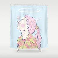madonna Shower Curtains featuring Bubblegum Madonna  by Adam Glab
