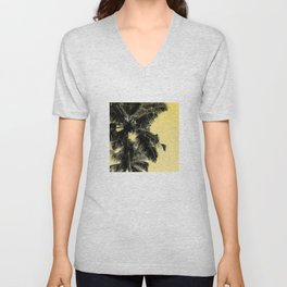 High palms poster in yellow Unisex V-Neck