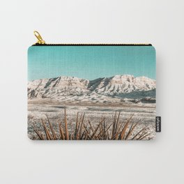 Vintage Mojave Mountains // Snowcapped Desert Landscape Cactus Plant Perspective Photograph Carry-All Pouch