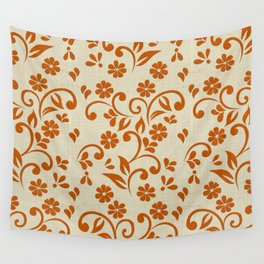 """""""Orange Flowers & Natural Texture"""" Wall Tapestry"""